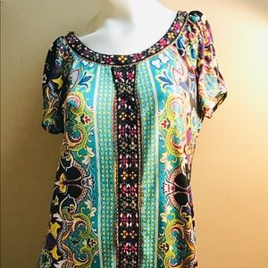 Beaded Dress Teal/Multi Color